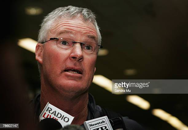 John Bracewell Coach of the Black Caps talks to the media as the New Zealand Black Caps return home following the ChappellHadlee Trophy one day...