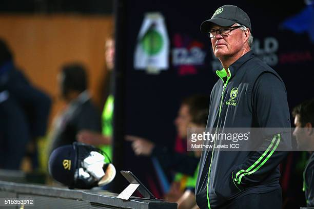 John Bracewell Head Coach of Ireland looks on during the ICC World Twenty20 India 2016 match between Netherlands and Ireland at the HPCA Stadium on...