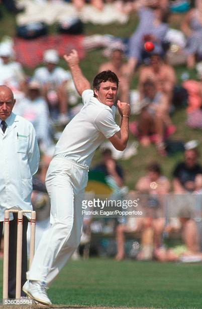 John Bracewell of New Zealand bowling during the tour match between Lavinia Duchess of Norfolk's XI and New Zealand XI at Arundel England 6th May 1990