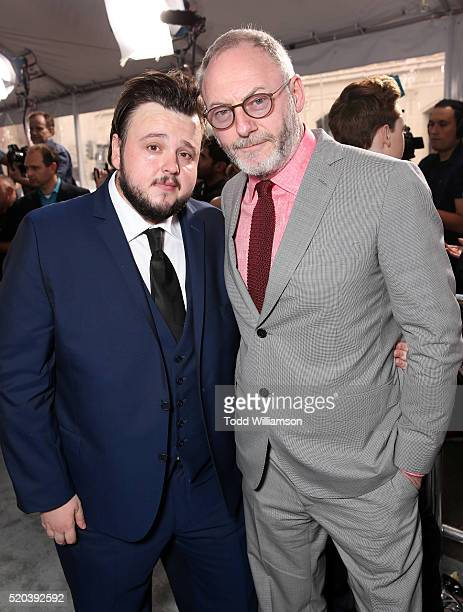 John Bradley and Liam Cunningham attend the premiere of HBO's 'Game Of Thrones' Season 6 at TCL Chinese Theatre on April 10 2016 in Hollywood...