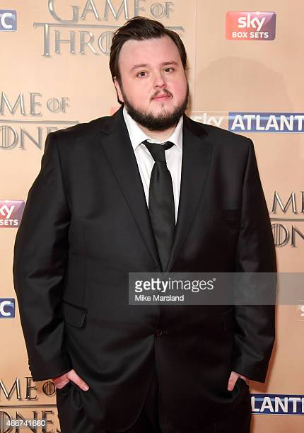 John Bradley attends the World premiere of Game of Thrones Season 5 at the Tower of London on March 18 2015 in London England