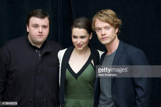 John Bradley Emilia Clarke and Alfie Allen at the 'Game Of Thrones' Press Conference at The London Hotel on March 19 2014 in New York City