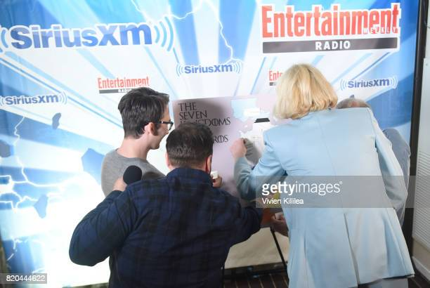 John Bradley Isaac Hempstead Wright and Gwendoline Christie attend SiriusXM's Entertainment Weekly Radio Channel Broadcasts From Comic Con 2017 at...
