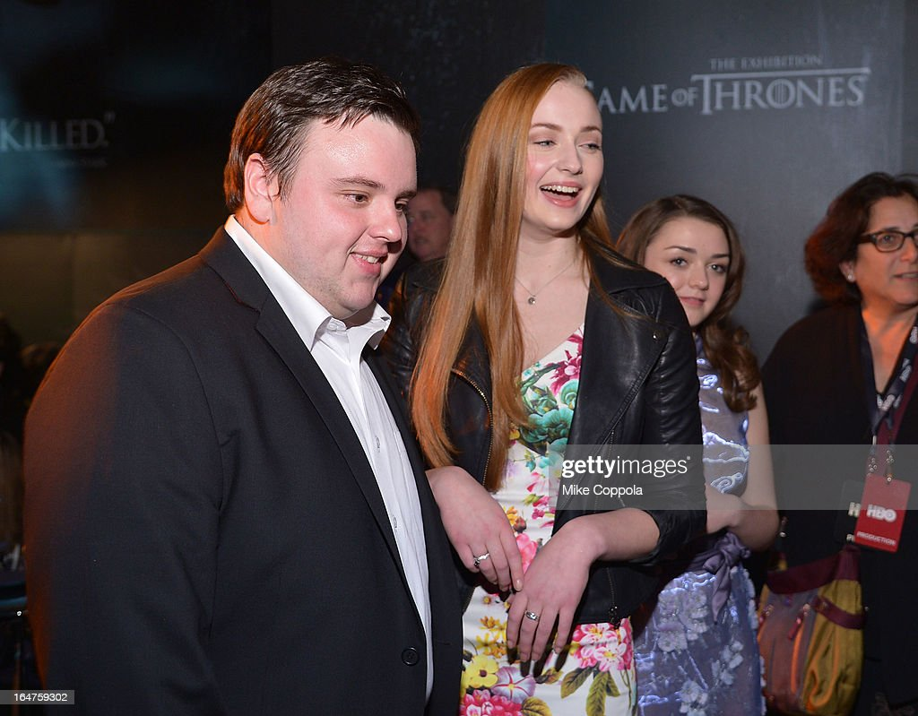 John Bradley, Sophie Turner and <a gi-track='captionPersonalityLinkClicked' href=/galleries/search?phrase=Maisie+Williams&family=editorial&specificpeople=1766400 ng-click='$event.stopPropagation()'>Maisie Williams</a> attend 'Game Of Thrones' The Exhibition New York Opening at 3 West 57th Avenue on March 27, 2013 in New York City.