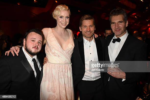 John BradleyWest Gwendoline Christie Nikolaj CosterWaldau and David Benioff attend HBO's Official 2015 Emmy After Party at The Plaza at the Pacific...