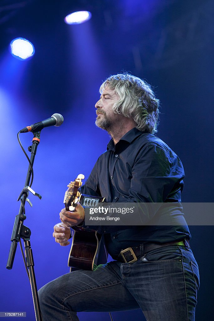 <a gi-track='captionPersonalityLinkClicked' href=/galleries/search?phrase=John+Bramwell&family=editorial&specificpeople=5737976 ng-click='$event.stopPropagation()'>John Bramwell</a> of I Am Kloot performs on stage on Day 2 of Kendal Calling Festival at Lowther Deer Park on July 27, 2013 in Kendal, England.