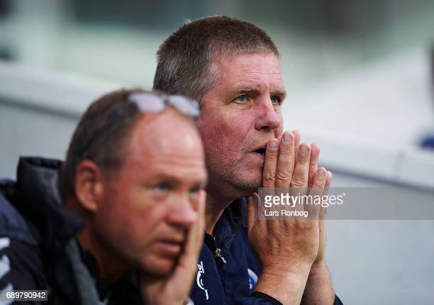 John Bredal assistant coach of OB Odense and Kent Nielsen head coach of OB Odense looks on during the Danish Alka Superliga match between Randers FC...