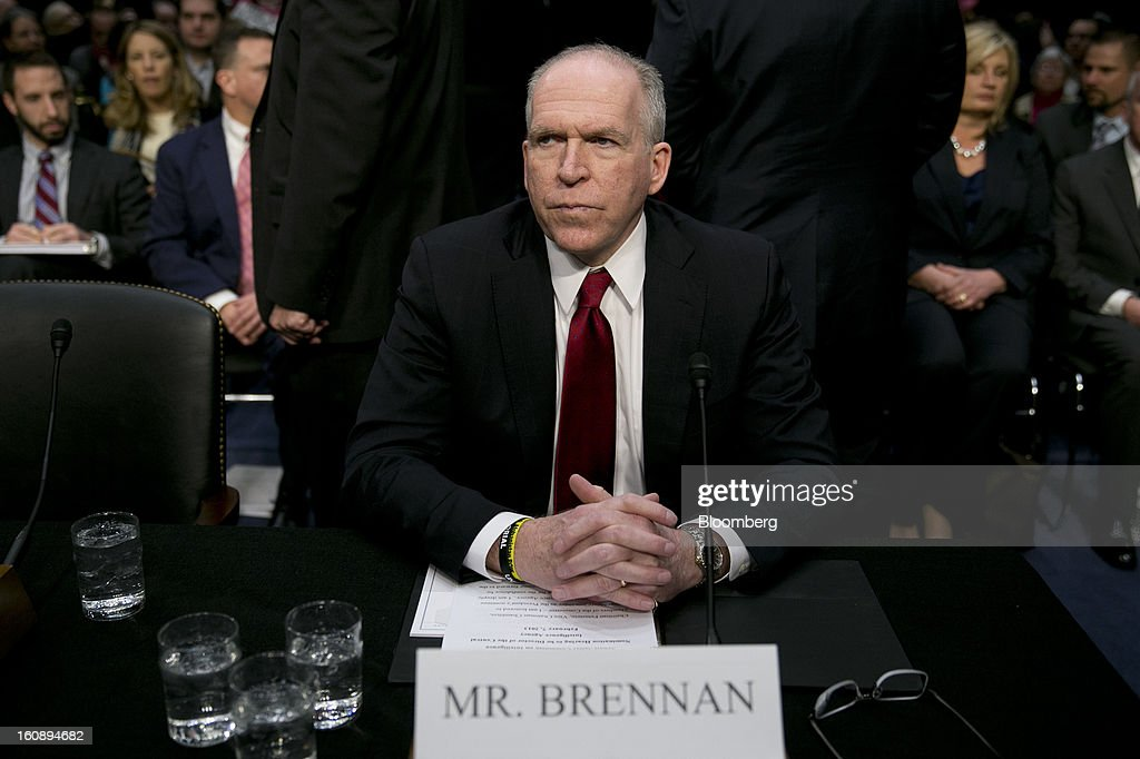 John Brennan, nominee for director of the Central Intelligence Agency (CIA) and White House chief counterterrorism adviser, arrives to a Senate Select Intelligence Committee hearing in Washington, D.C., U.S., on Thursday, Feb. 7, 2013. Protesters sought to set the tone at the confirmation hearing of Brennan, President Barack Obama's nominee to lead the CIA, disrupting proceedings today before Brennan even spoke. Photographer: Andrew Harrer/Bloomberg via Getty Images