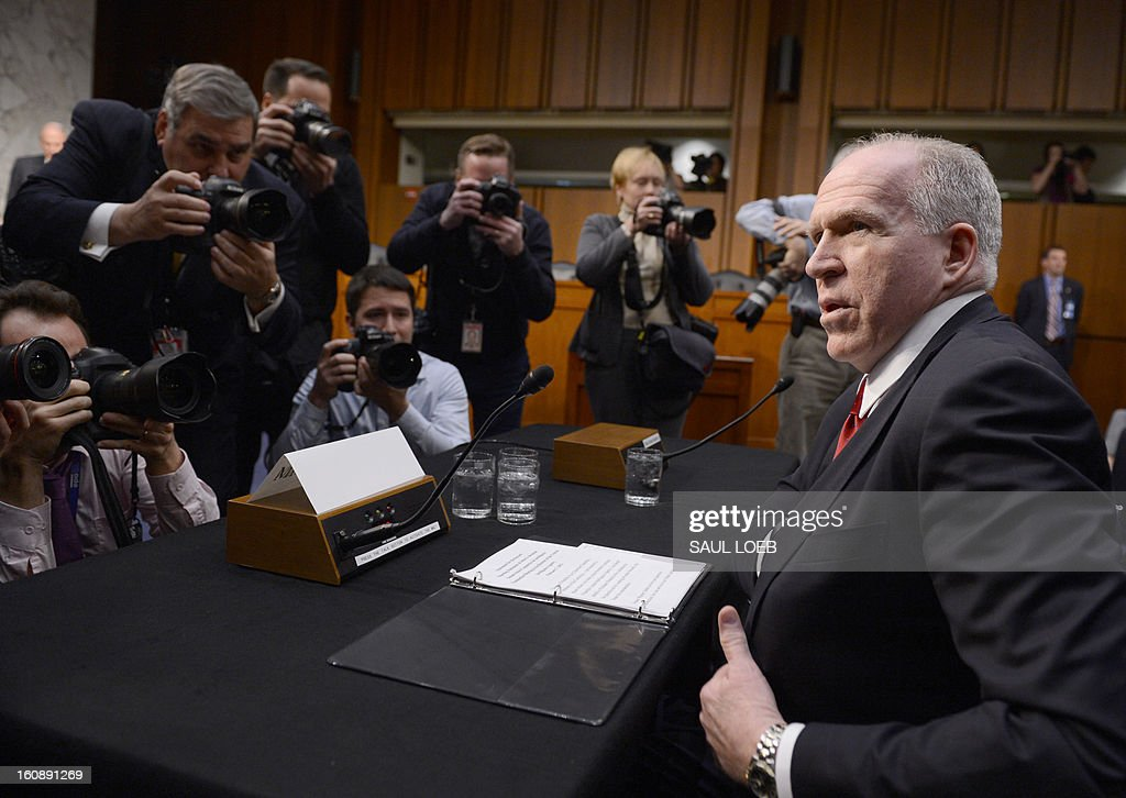 John Brennan, US President Barack Obama's nominee to be director of the Central Intelligence Agency (CIA), arrives to testify at his confirmation hearing before the Senate Intelligence Committee on Capitol Hill in Washington, DC, on February 7, 2013. The hard-nosed architect of the US drone war against Al-Qaeda, John Brennan, will on Thursday face difficult questions about secret assassinations from senators weighing his nomination to lead the CIA. AFP PHOTO / Saul LOEB