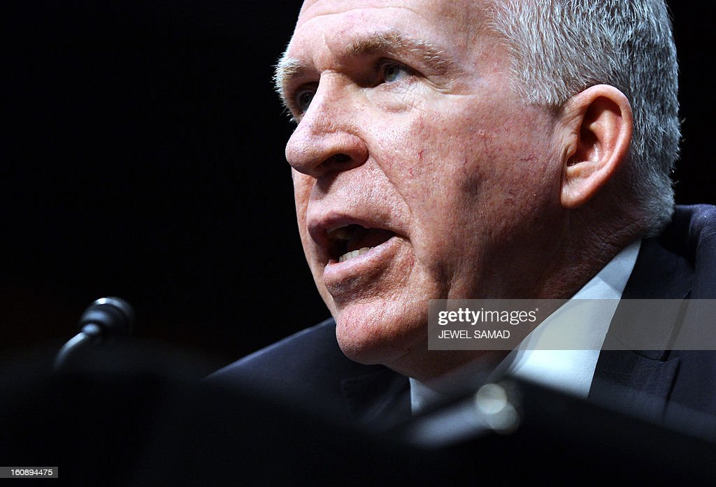 John Brennan, US President Barack Obama's pick to lead the CIA, testifies before a full committee hearing on his nomination to be director of the Central Intelligence Agency (CIA) in the Hart Senate Office Building in Washington, DC, on February 7, 2013. AFP PHOTO/Jewel Samad