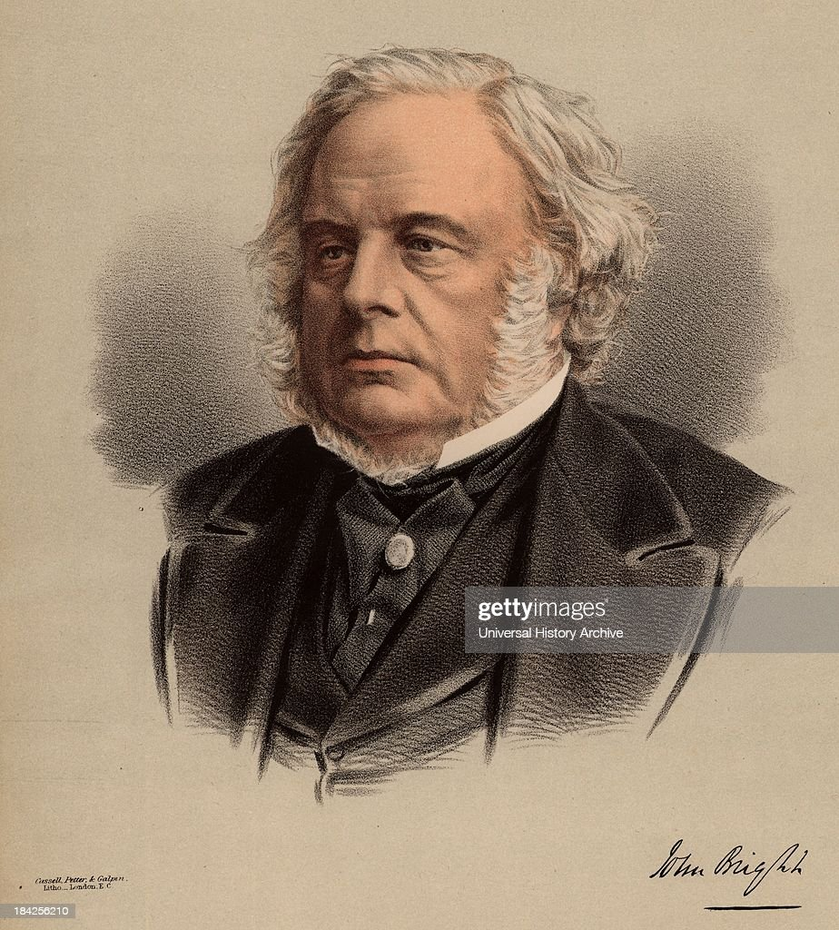 John Bright (1811-1889) British radical statesman, born in Rochdale, Lancashire. Anti Corn Law League. Reform Act 1867. From 'The National Portrait Gallery' (London, c1880). Tinted lithograph.