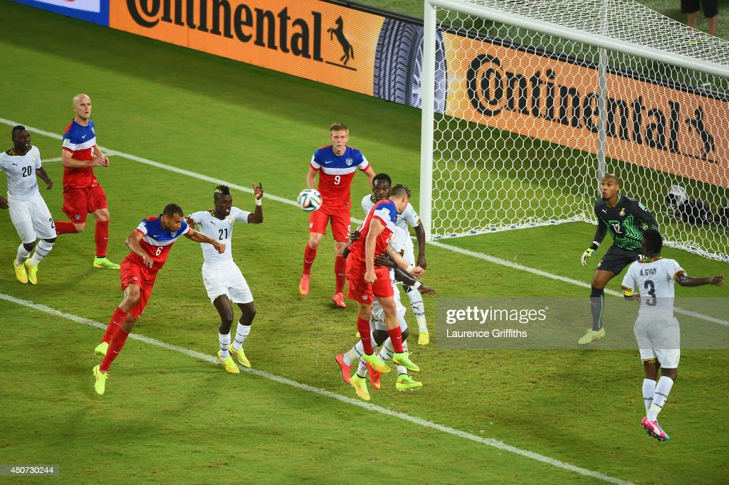 John Brooks of the United States scores his team's second goal on a header past <a gi-track='captionPersonalityLinkClicked' href=/galleries/search?phrase=Adam+Kwarasey&family=editorial&specificpeople=8522737 ng-click='$event.stopPropagation()'>Adam Kwarasey</a> of Ghana during the 2014 FIFA World Cup Brazil Group G match between Ghana and the United States at Estadio das Dunas on June 16, 2014 in Natal, Brazil.