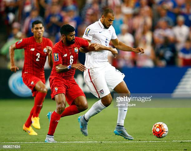John Brooks of the USA and Gabriel Gomez of Panama compete for the ball during the CONCACAF Gold Cup match at Sporting Park on July 13 2015 in Kansas...