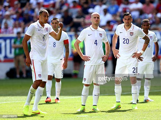 John Brooks of United States and teammates Clint DempseyMichael BradleyGeoff Cameron and Julian Green wait for the corner kick in the second half...