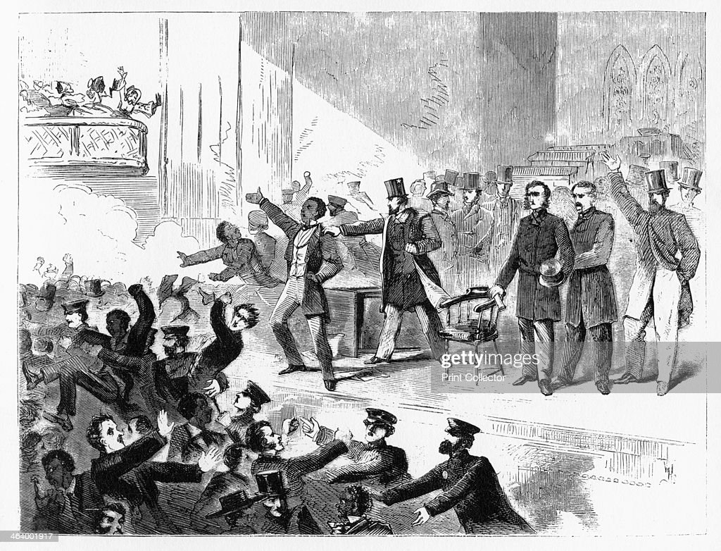 'John Brown Anniversary Meeting Tremont Temple' 1858 Abolitionist William Lloyd Garrison holds a meeting Illustration from Adventures of America...