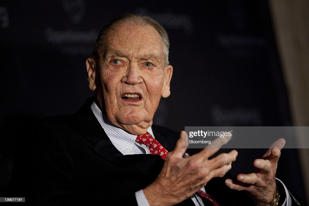 John C. Bogle, founder of the Vanguard Group Inc., speaks at a portfolio manager conference in New York, U.S., on Thursday, Feb. 16, 2012. Bogle, who popularized index investing, said lower tax rates for certain types of gains earned by private equity firms are 'ridiculous.' Photographer: Scott Eells/Bloomberg via Getty Images