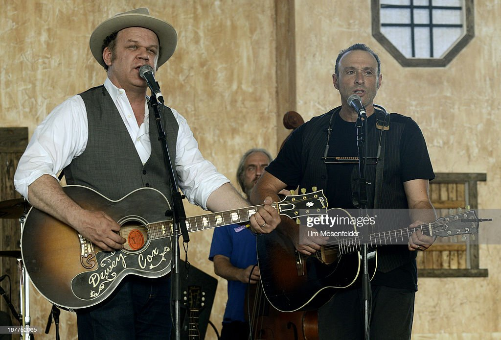 John C Reilly and Dan Bern of John Reilly and Friends perform as part of the Stagecoach Music Festival at the Empire Polo Grounds on April 28 2013 in...