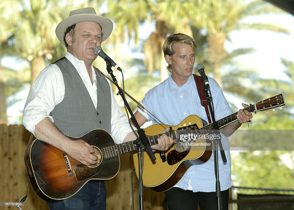 John C. Reilly (L) and Tom Brosseau of John Reilly and Friends perform as part of the Stagecoach Music Festival at the Empire Polo Grounds on April 28, 2013 in Indio, California.
