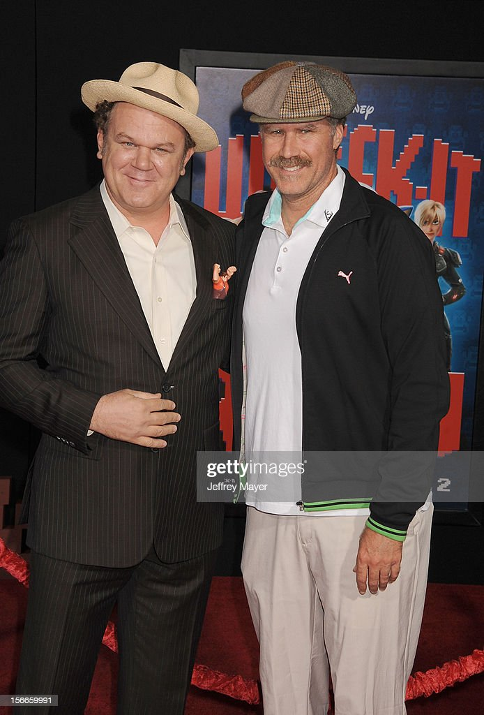 John C. Reilly and Will Ferrell arrive at the Los Angeles premiere of 'Wreck-It Ralph' at the El Capitan Theatre on October 29, 2012 in Hollywood, California.
