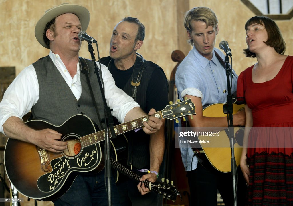 John C Reilly Dan Bern Tom Brosseau and Becky Stark of John Reilly and Friends perform as part of the Stagecoach Music Festival at the Empire Polo...