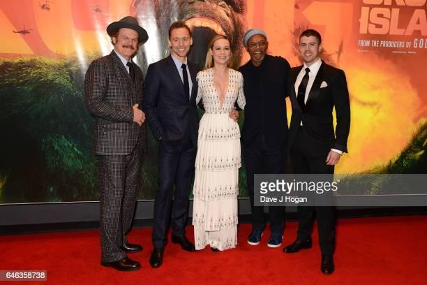 John C Reilly Tom Hiddleston Brie Larson Samuel L Jackson and Toby Kebbell attend the European premiere of 'Kong Skull Island' on February 28 2017 in...