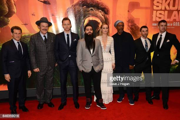John C Reilly Tom Hiddleston Jordan VogtRoberts Brie Larson Samuel L Jackson Alex Garcia and Toby Kebbell attend the European premiere of 'Kong Skull...