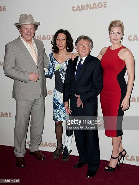 John C Reilly Yasmina Reza Roman Polanski and Kate Winslet attend the premiere of 'Carnage' at Cinema Gaumont Marignan on November 20 2011 in Paris...