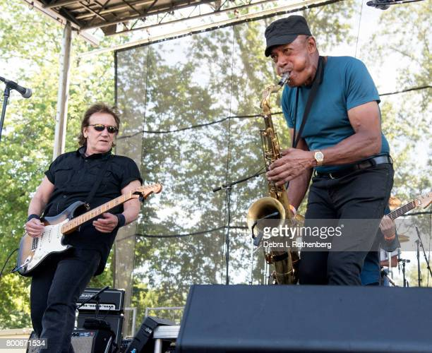 John Cafferty and Michael 'Tunes' Antunes perform at the RocklandBergen Music Festival at German Masonic Park on June 24 2017 in Tappan New York