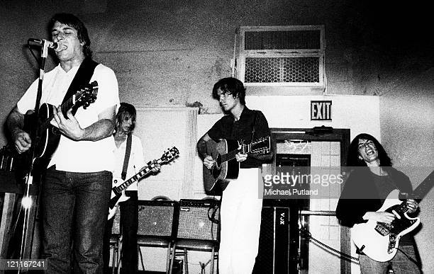 John Cale of the Velvet Underground performing at the Ocean Club New York with Mick Ronson David Bryne of Talking Heads and Patti Smith 21st July 1976