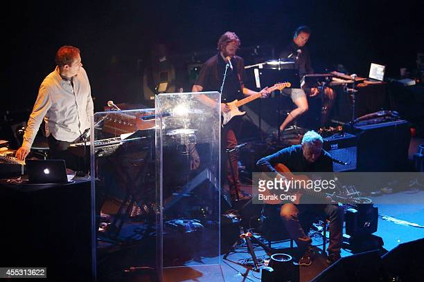 John Cale performs on stage with Liam Young at Barbican Centre on September 12 2014 in London United Kingdom