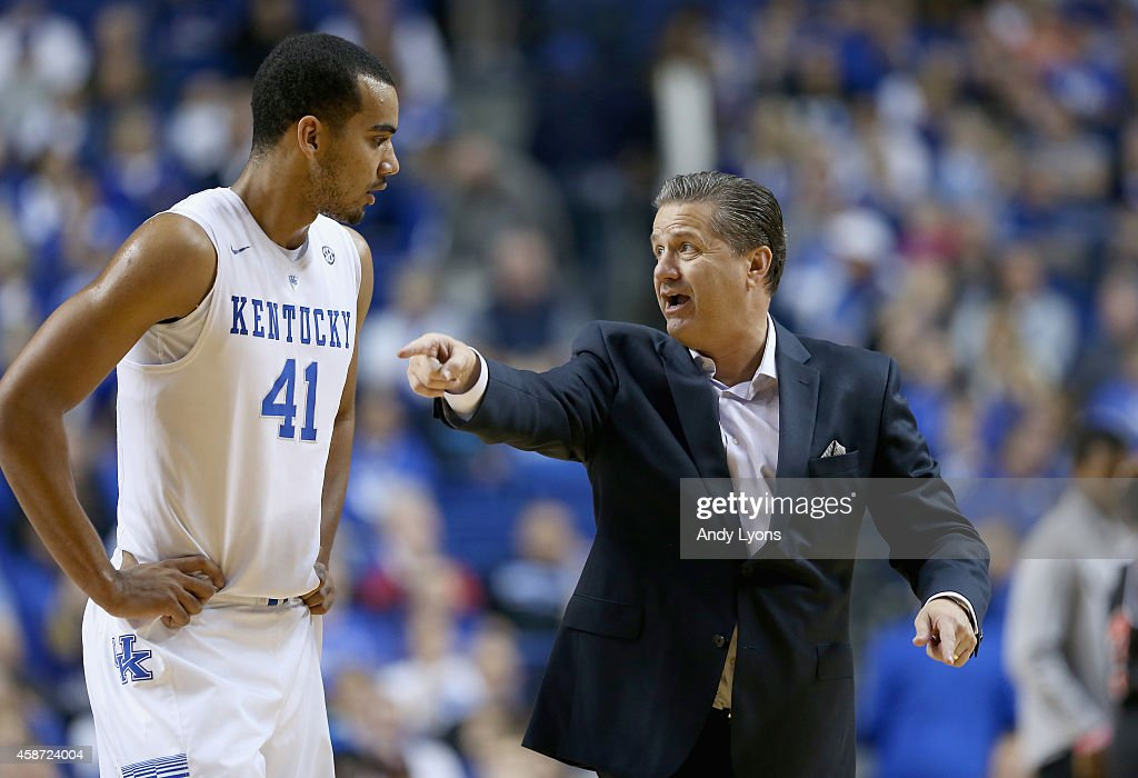 <a gi-track='captionPersonalityLinkClicked' href=/galleries/search?phrase=John+Calipari&family=editorial&specificpeople=619983 ng-click='$event.stopPropagation()'>John Calipari</a> the head coach gives instructions to <a gi-track='captionPersonalityLinkClicked' href=/galleries/search?phrase=Trey+Lyles&family=editorial&specificpeople=8022476 ng-click='$event.stopPropagation()'>Trey Lyles</a> #41 of the Kentucky Wildcats during the game against the Georgetown College Tigers at Rupp Arena on November 9, 2014 in Lexington, Kentucky.