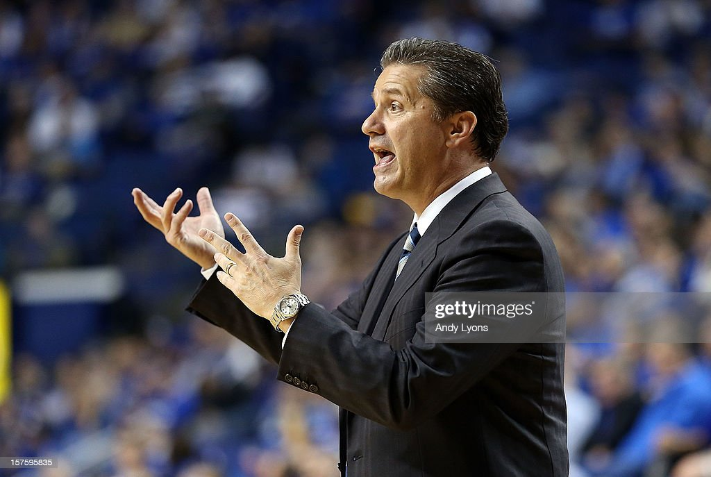 John Calipari the head coach of the Kentucky Wildcats gives instructions to his team during the game against the Samford Bulldogs at Rupp Arena on December 4, 2012 in Lexington, Kentucky.
