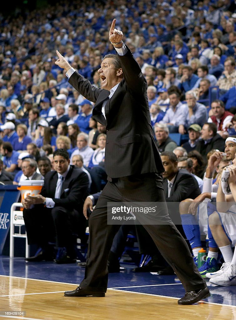 John Calipari the head coach of the Kentucky Wildcats gives instructions to his team during the game against the Florida Gators at Rupp Arena on March 9, 2013 in Lexington, Kentucky.