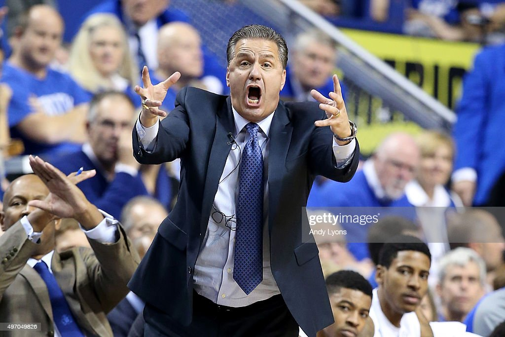 John Calipari the head coach of the Kentucky Wildcats gives instructions to his team during the game against the Albany Great Danes at Rupp Arena on November 13, 2015 in Lexington, Kentucky.