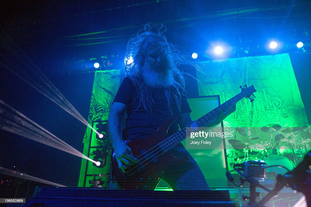 <a gi-track='captionPersonalityLinkClicked' href=/galleries/search?phrase=John+Campbell+-+Bassist&family=editorial&specificpeople=4681333 ng-click='$event.stopPropagation()'>John Campbell</a> and Chris Adler of Lamb of God performs at The Egyptian Room in Old National Centre on November 8, 2012 in Indianapolis, Indiana.