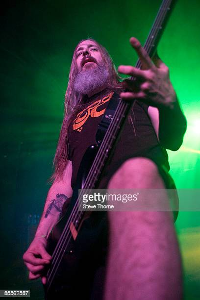 John Campbell bass player of Lamb of God performs on stage at the O2 Academy on February 12 2009 in Birmingham