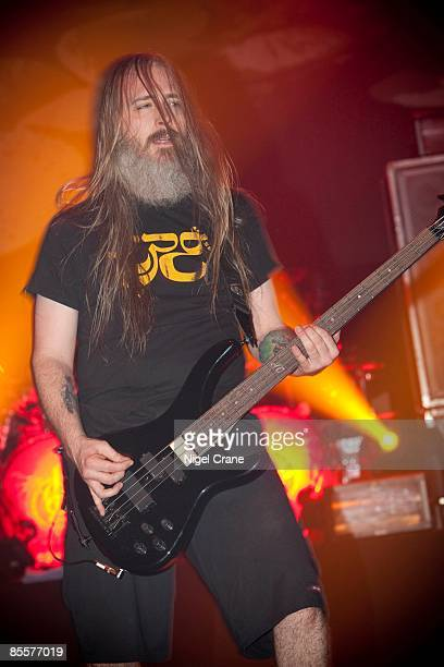 John Campbell bass player of metal band Lamb of God performs on stage as part of the Defenders Of The Faith 2 tour at the O2 Academy Brixton on...
