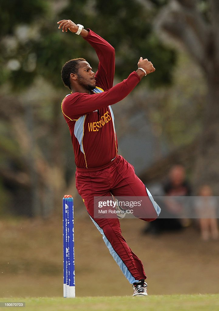 John Campbell of the West Indies bowls during the ICC U19 Cricket World Cup 2012 Semi Final match between Pakistan and the West Indies at Endeavour Park on August 22, 2012 in Townsville, Australia.