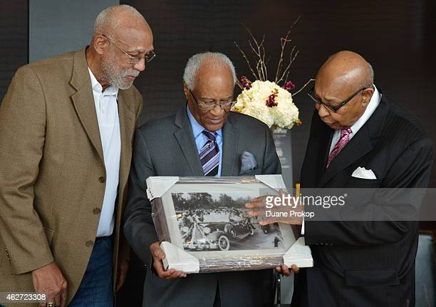 John Carlos left Herb Douglas and Louis Stokes attends the Hennessy VS and Cleveland Cavaliers event honoring Olympian Medalist Herb Douglas for...