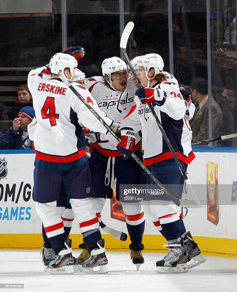 John Carlson #74 of the Washington Capitals celebrates his goal against the New York Rangers in the first period at Madison Square Garden on February 17, 2013 in New York City.