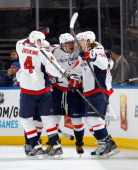 John Carlson of the Washington Capitals celebrates his goal against the New York Rangers in the first period at Madison Square Garden on February 17...