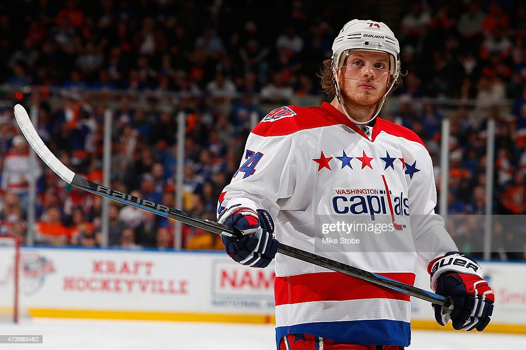 John Carlson #74 of the Washington Capitals skates against the New York Islanders during Game Six of the Eastern Conference Quarterfinals during the 2015 NHL Stanley Cup Playoffs at Nassau Veterans Memorial Coliseum on April 25, 2015 in Uniondale, New York. The Islanders defeated the Capitals 3-1.