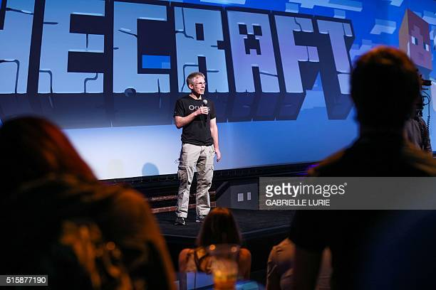 John Carmack CTO of Oculus VR makes a brief statement during a press demonstration of the Minecraft for Gear VR at The Village event space in San...