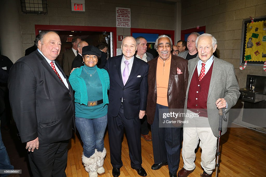 John Catsimatidis, guest, <a gi-track='captionPersonalityLinkClicked' href=/galleries/search?phrase=Raymond+Kelly&family=editorial&specificpeople=551131 ng-click='$event.stopPropagation()'>Raymond Kelly</a>, <a gi-track='captionPersonalityLinkClicked' href=/galleries/search?phrase=Charles+Rangel&family=editorial&specificpeople=213581 ng-click='$event.stopPropagation()'>Charles Rangel</a> and Robert Morgenthau attend CitySightseeing New York 2013 holiday toy drive at PAL's Harlem Center on December 14, 2013 in New York City.