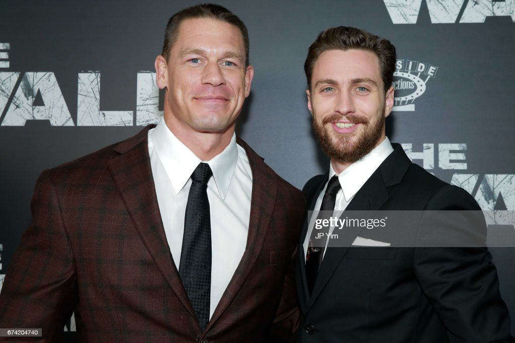 John Cena and Aaron Taylor-Johnson attend the premiere of 'The Wall' at Regal Union Square Theatre, Stadium 14 on April 27, 2017 in New York City.