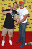John Cena and Hulk Hogan during 2005 Teen Choice Awards Arrivals at Gibson Amphitheatre in Universal City California United States