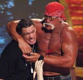 John Cena and Hulk Hogan during 2005 Teen Choice Awards Show at Gibson Amphitheater in Universal City California United States