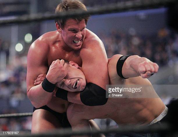 John Cena and JBL during WWE WrestleMania 21 'WrestleMania Goes Hollywood' at Staples Center in Los Angeles California United States