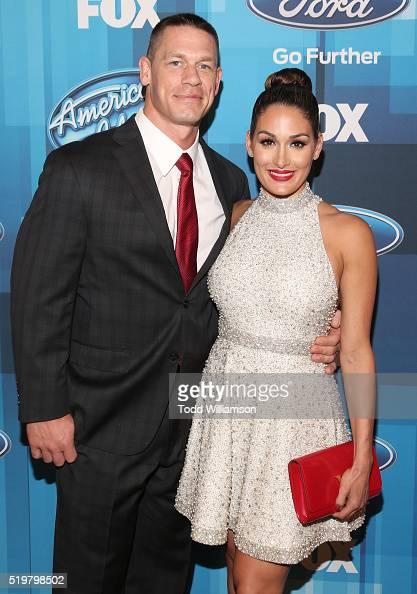 John cena and nikki bella attend fox s american idol finale for the