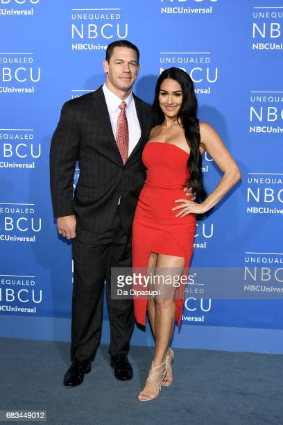 John Cena and Nikki Bella attend the 2017 NBCUniversal Upfront at Radio City Music Hall on May 15 2017 in New York City